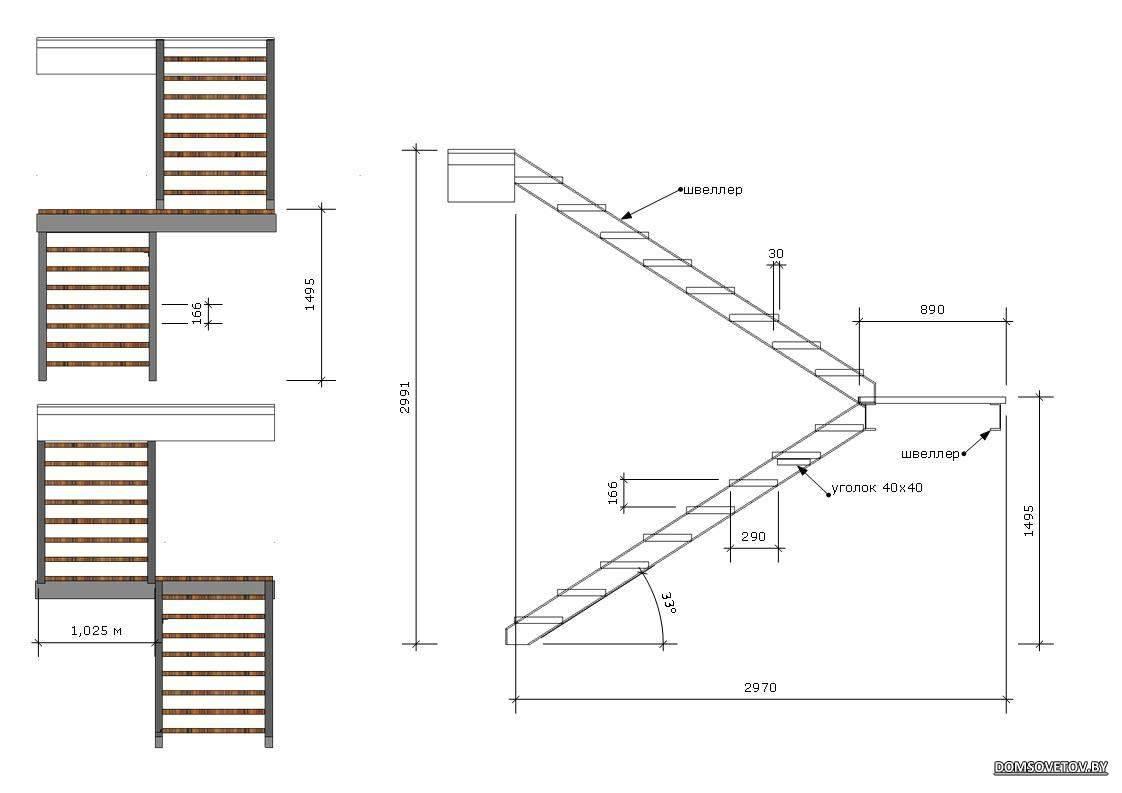 Лестница из профильной трубы своими руками: этапы строительства