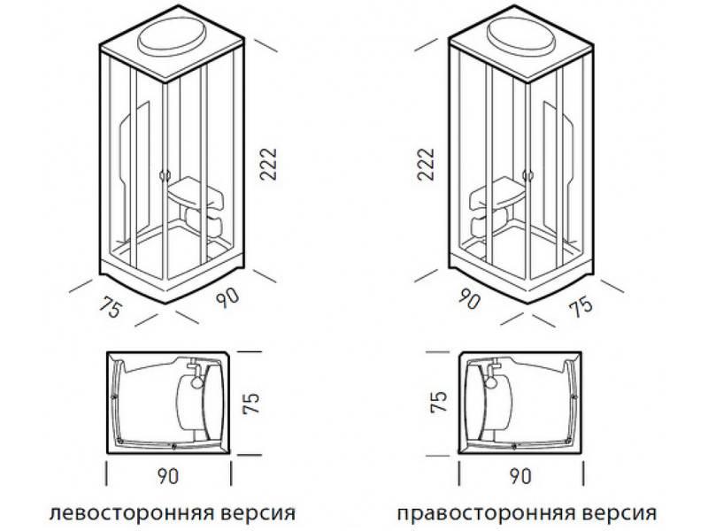 Размеры и формы душевых поддонов