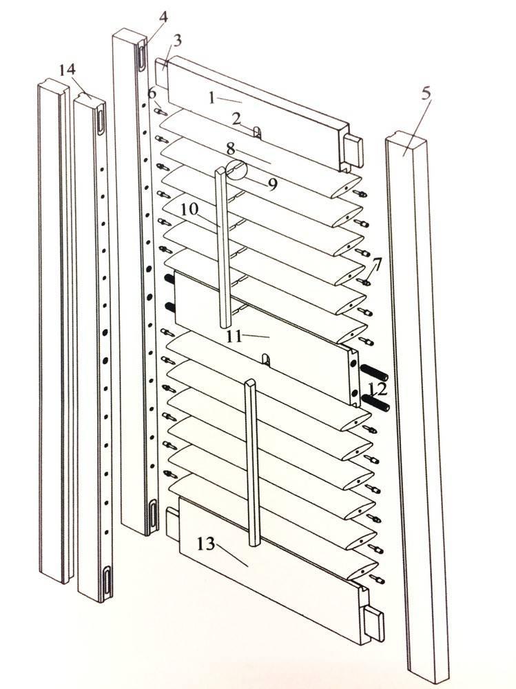 Деревянные жалюзи: видео-инструкция как сделать своими руками, особенности горизонтальных, вертикальных изделий, жалюзийных дверей для шкафа, для забора, фасада, ремонт, чертежи, цена, фото