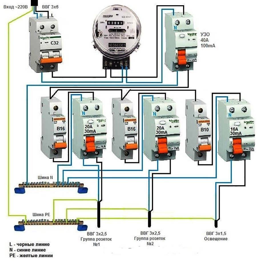 Схема подключения узо в однофазной и трехфазной сети