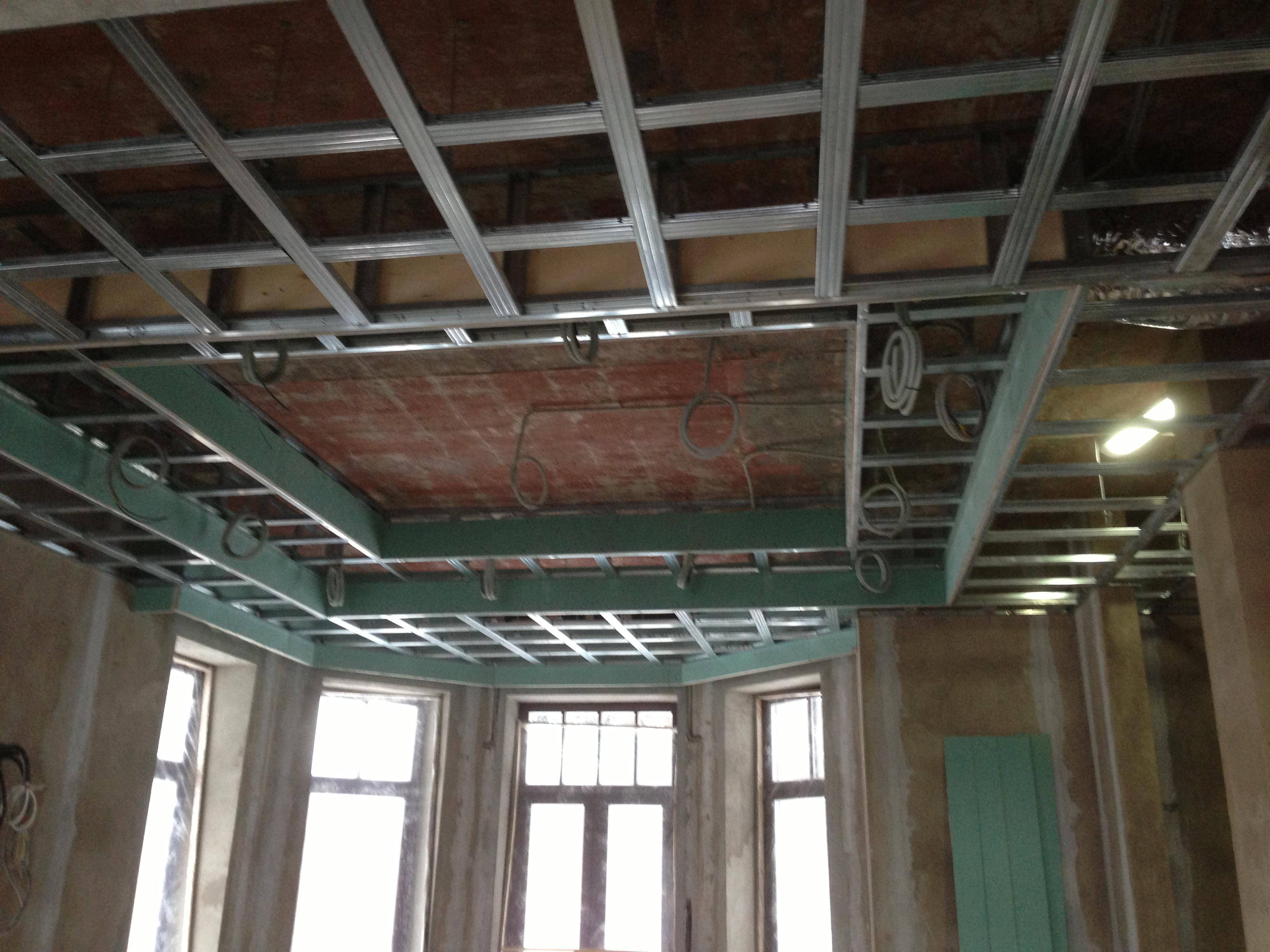 Как сделать каркас под гипсокартон на потолок