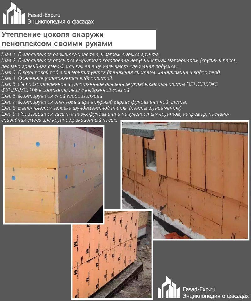 Утепление фундамента дома снаружи пенополистиролом - инструкция пошагово!