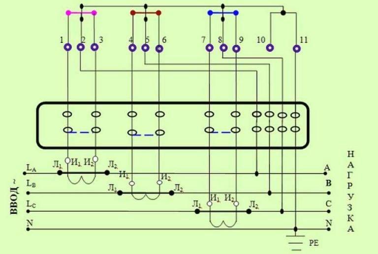 Подключение трансформаторов тока к трехфазному счетчику меркурий