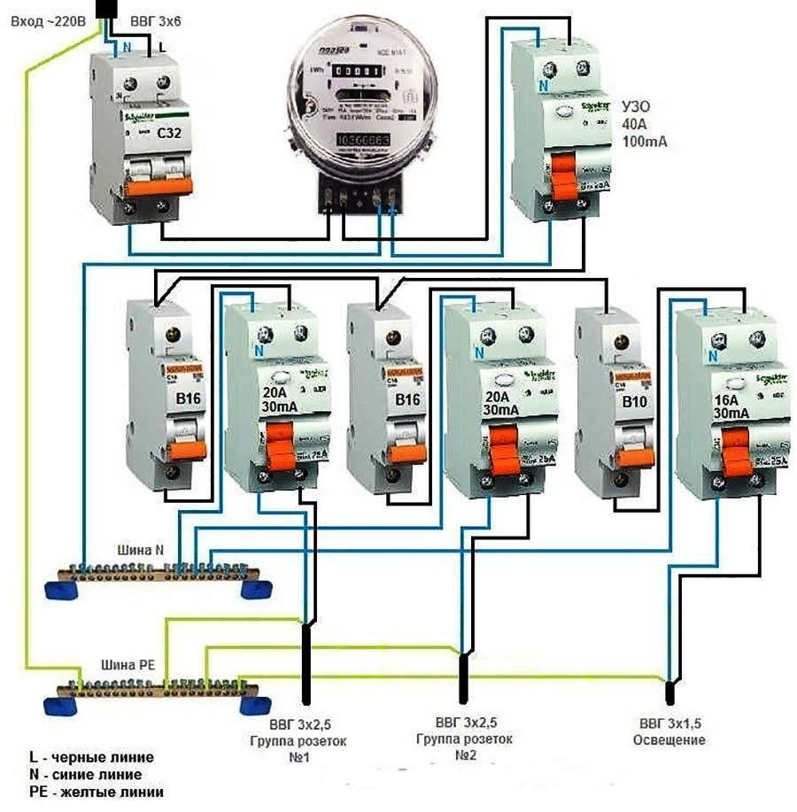 Схема подключения автоматов в квартире после счетчика
