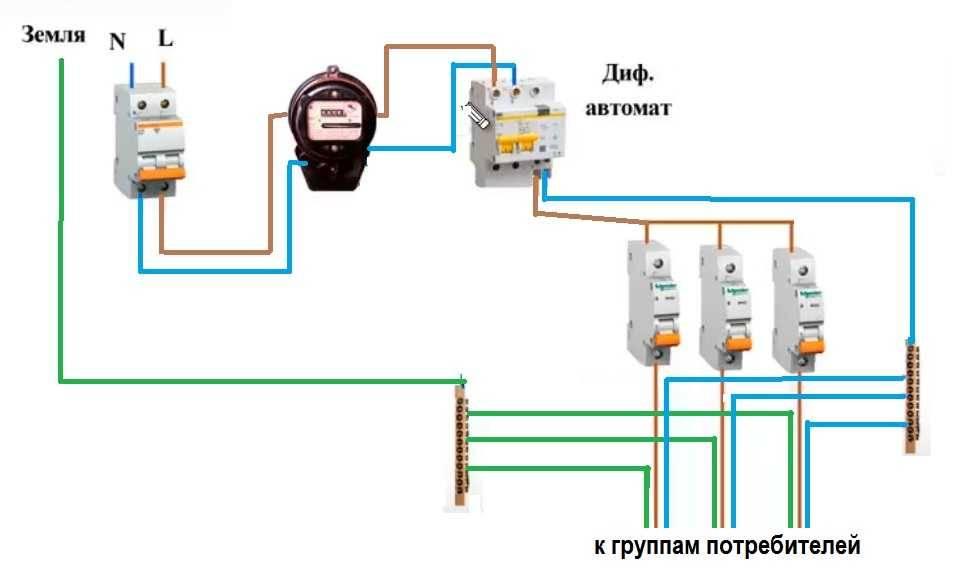 Схема подключения автоматов после счетчика