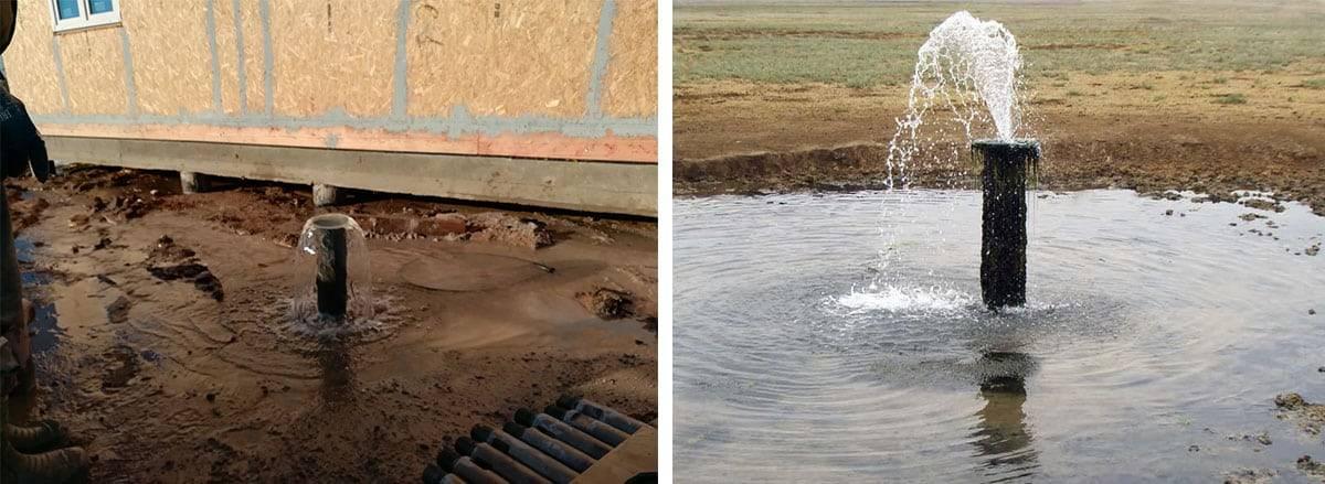 Почему при работе насоса вода с скважины идет с воздухом