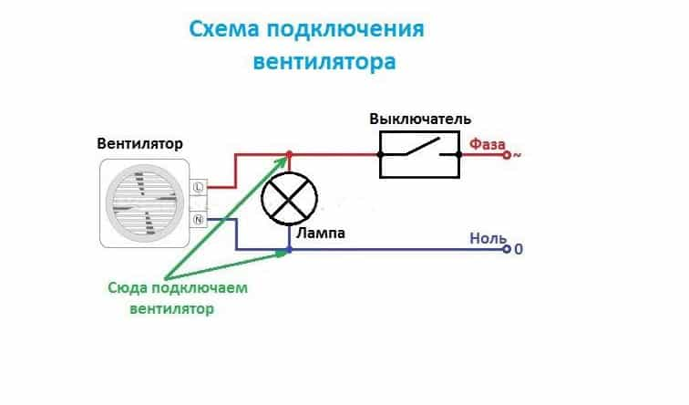 Схема подключения вентилятора в ванной комнате