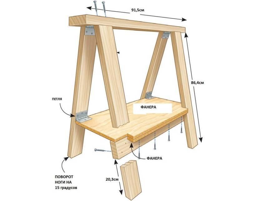 Козлы строительные своими руками: как сделать столярные складные деревянные подмости (чертежи + фото)