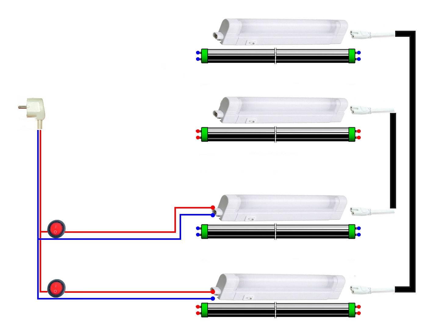 Подключение и замена люминесцентных ламп на светодиодные